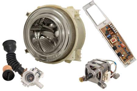 Details of household automatic washing machine, isolated on white background.