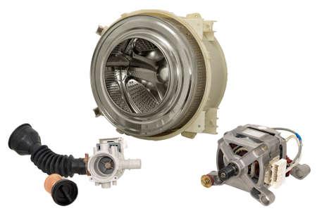 Details of household automatic washing machine, isolated on white background