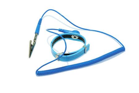 Antistatic wrist strap, close-up, isolated on white background.