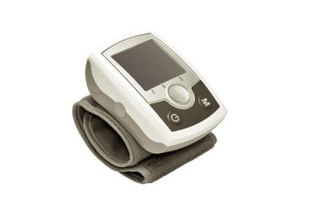 Modern electronic blood pressure monitor isolated on white background. photo