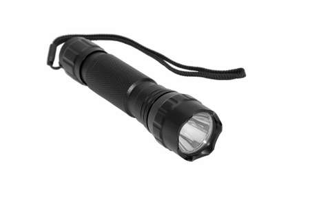 Modern LED torch isolated on a white background. photo
