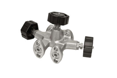 manifold: Manifold for the differential pressure sensor is isolated on a white background.