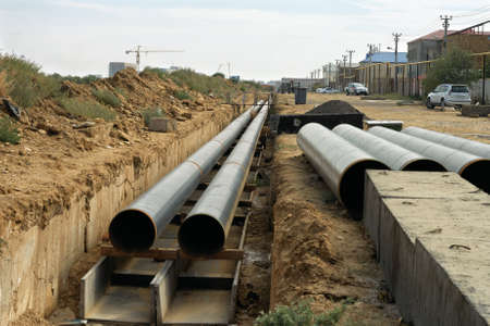 Laying of new pipes in Aktau, Kazakhstan.