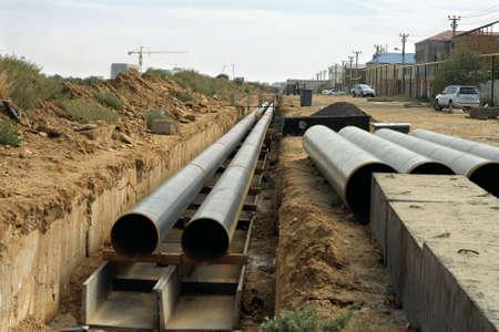 Laying of new pipes in Aktau, Kazakhstan.