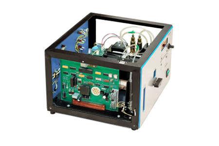 Laboratory equipment, dismantled electronics, isolated on white background  photo