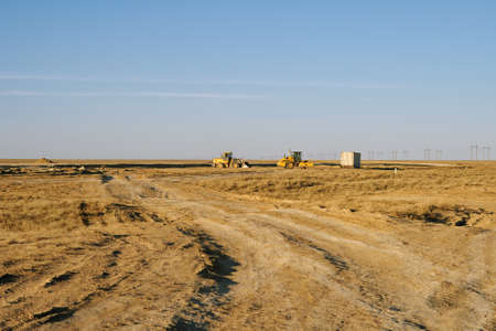 pave: Construction of a new road in the area of Aktau-Beyneu  Kazakhstan