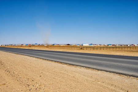 unlined: New road recently Unlined Aktau - Atyrau away Beyneu settlement. Stock Photo