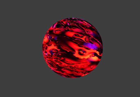 Sphere with texture mapped - colored foil and water drops. photo
