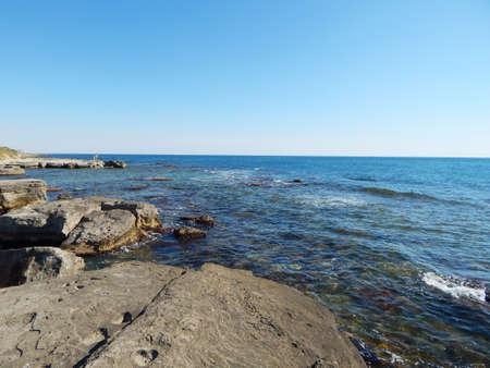 caspian: Water splashes around the stone. Caspian Sea. Kazakhstan.