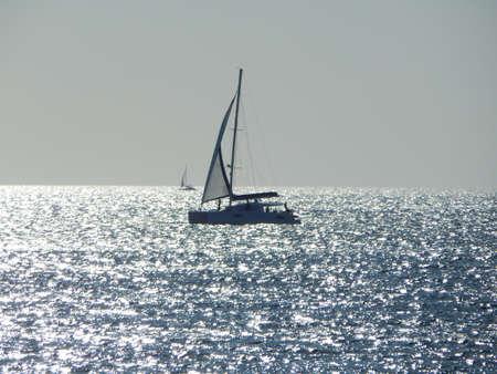 caspian: Silhouette boat in the Caspian Sea.