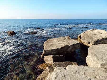 caspian: Rocky shore of the Caspian Sea. Kazakhstan