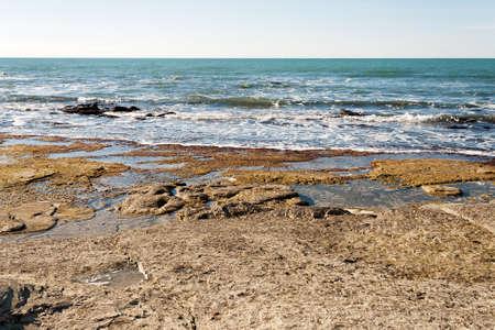 caspian: Rocky shore of the Caspian Sea. Winter season.