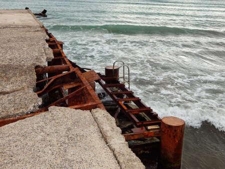 caspian: Old abandoned concrete pier. Caspian Sea. Aktau.