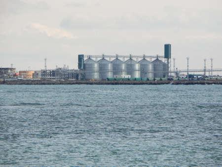 caspian: Grain terminal. Sea port Aktau. Caspian Sea. Kazakhstan. Stock Photo