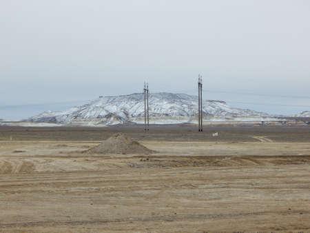 snowcovered: Snow-covered mountain steppe. Mangistau region. Kazakhstan.