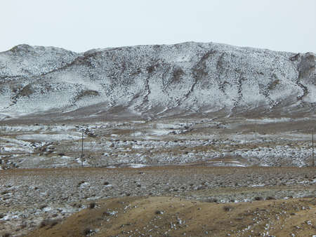snowcovered: Snow-covered mountain steppe. Mangistau region. Kazakhstan.