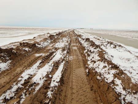 kazakhstan: Dirt road. Atyrau region. Kazakhstan.