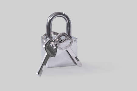 Hinged lock.  Isolated on a gray background. Stock Photo
