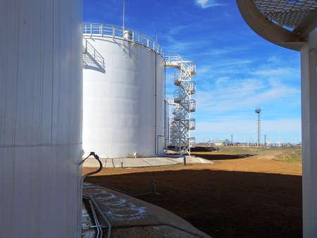 Vertical steel tanks. For the oil.