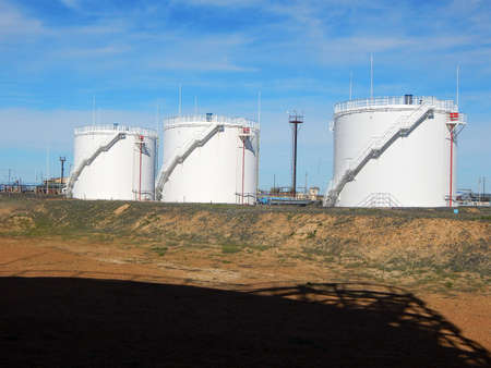 Vertical steel tanks. For the gas condensate. Stock Photo