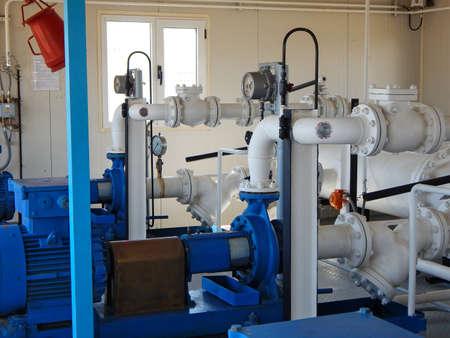 Pump pumping gas condensate. Pump station.