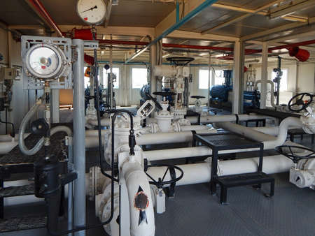 Pumping oil station. Interior the pumping station. Stock Photo