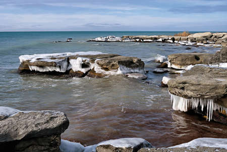 Icy shore of the Caspian Sea, month of January.
