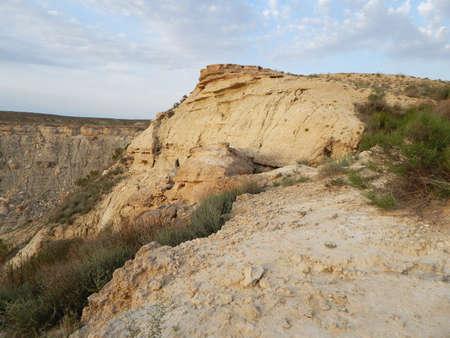 Steppe rocks at sunset. Kazakhstan. Mangistau region. Stock Photo