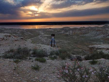 Steppe rocks at sunset. Kazakhstan. Mangistau region. Camera on a tripod.