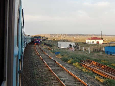 Railway crossing. Mangistau region. Kazakhstan. Path Mangyshlak - Shetpe Editorial