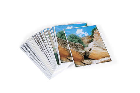 Photo cards stacked. Isolated on white background.