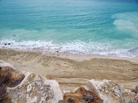 Coast of the Caspian Sea. View from above. The month of February. Stock fotó