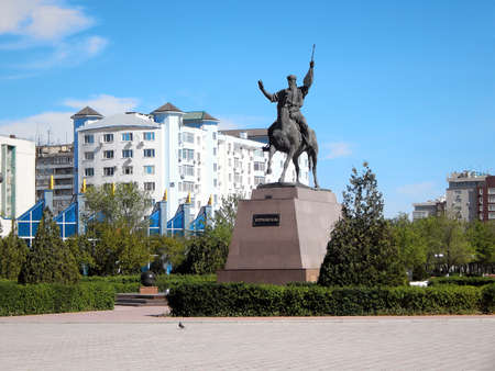 Monument of Kurmangazy on the square of Yntymak. Aktau. Kazakhstan.