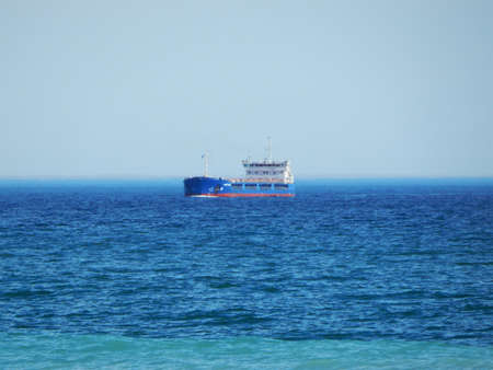 Tanker is far away in the Caspian Sea. Stock Photo
