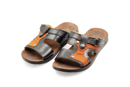 Mens sandals. Close-up. Isolated on white background.