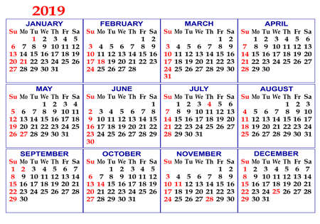 Calendar grid for 2019. Twelve months. White background.