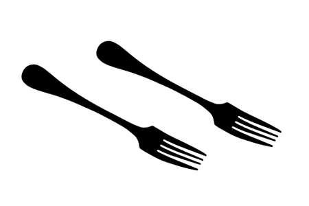 Silhouettes of forks. Close-up. Isolated on white background.