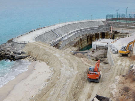 Construction of a marine dam. Aktau city. Kazakhstan. Standard-Bild