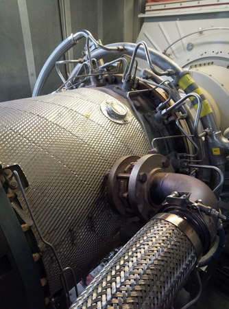 Gas turbine engine generator.Used to generate electricity. Stock Photo