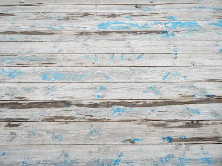 Textur alter Dielen mit Farbspuren. Standard-Bild