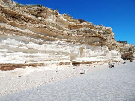 Chalk rock strata. Cape Cretaceous Aktau. City by the sea. Mangistau. Aktau. Kazakhstan. Banco de Imagens