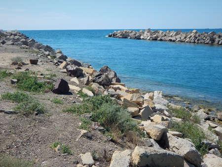 Water intake channel for the desalination of sea water. Kazakhstan. Mangistau region. Aktau.