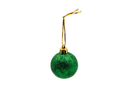 Christmas tree toy. Emerald ball. On a white background.