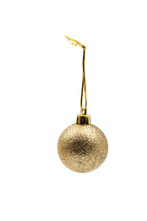Christmas tree toy. Golden Ball. On a white background. Banque d'images - 128617671