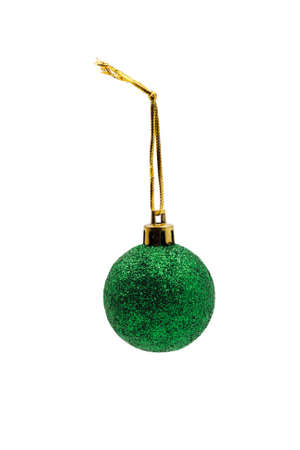 Christmas tree toy. Emerald ball. On a white background. Stockfoto - 128617672