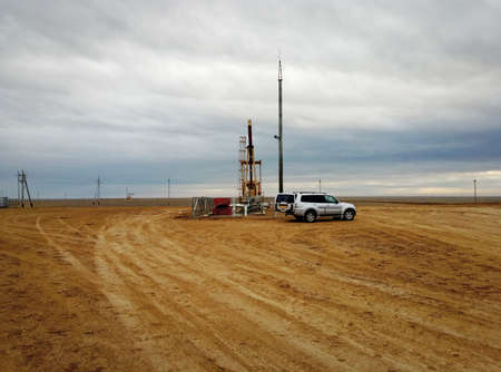 Oil rocking and service machine. Oil field. Kazakhstan.