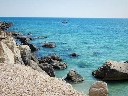 Rocky shore of the Caspian Sea.Walking trail along the cliffs.Aktau.Kazakhstan.