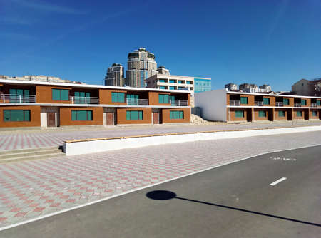 Kazakhstan. Aktau city. March 26, 2019 year. Houses on the waterfront.