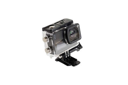 Compact photo camera in the underwater box.Isolated on white background.