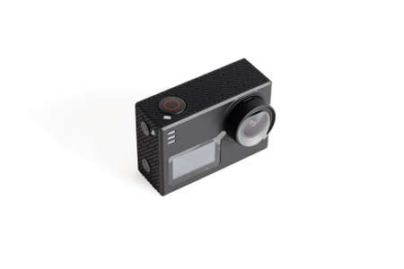 Action camera black. Close-up. Isolated over white background.
